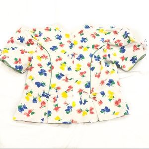 Vintage Sylvia Whyte Puff Sleeve Button Top Floral
